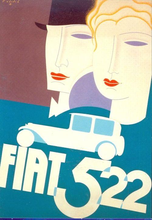 Vintage italian posters illustrator italian vintage posters art deco fiat