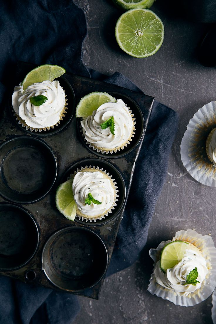 Mojito Cupcakes   Boozy Mojito Cupcakes: an infusion of lime, mint, and rum, all in one little cupcake! Mojito Cupcakes