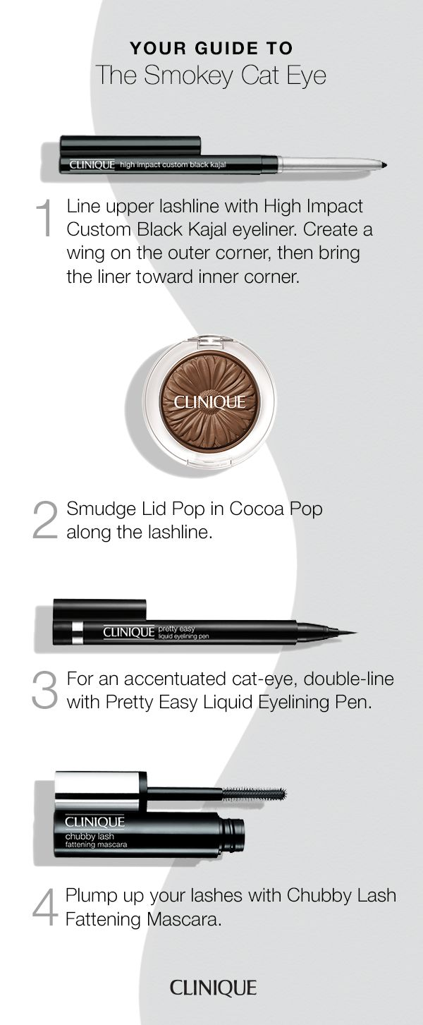 How to get the perfect smokey cat eye: start with High Impact Custom Black Kajal eyeliner, creating a wing on the outer corner and bringing it toward the inner corner. Next, smudge Lid Pop in Cocoa Pop along the lashline and double-line with Pretty Easy Liquid Eyelining Pen. Finish by plumping lashes with Chubby Lash Fattening Mascara.