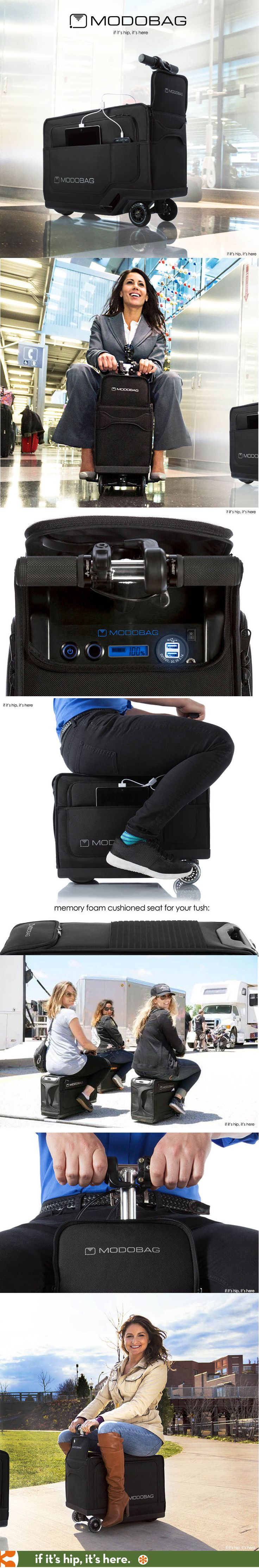 Brilliant! Motorized ride-on luggage holds up to 260 lbs and travels up to 8 miles per hour. And it's a REAL product.