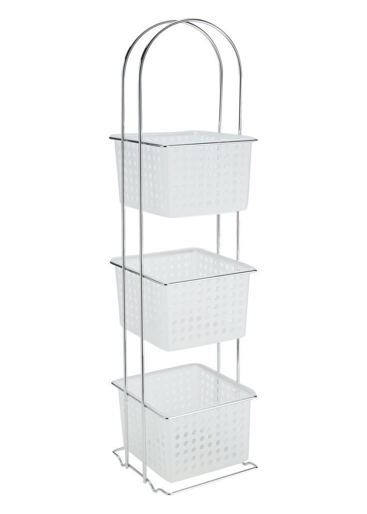 This free standing bathroom caddy has a chrome frame with white plastic  shelving  Great to neatly tidy away your bathroom toiletries  Dimensions x x. 11 best ideas about Bathroom on Pinterest   Shelves  Storage and