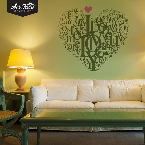 Type Love Heart Wall Decal - Typography Wall Decal - Home Decor - Wall Graphics - Vinyl Wall Sticker