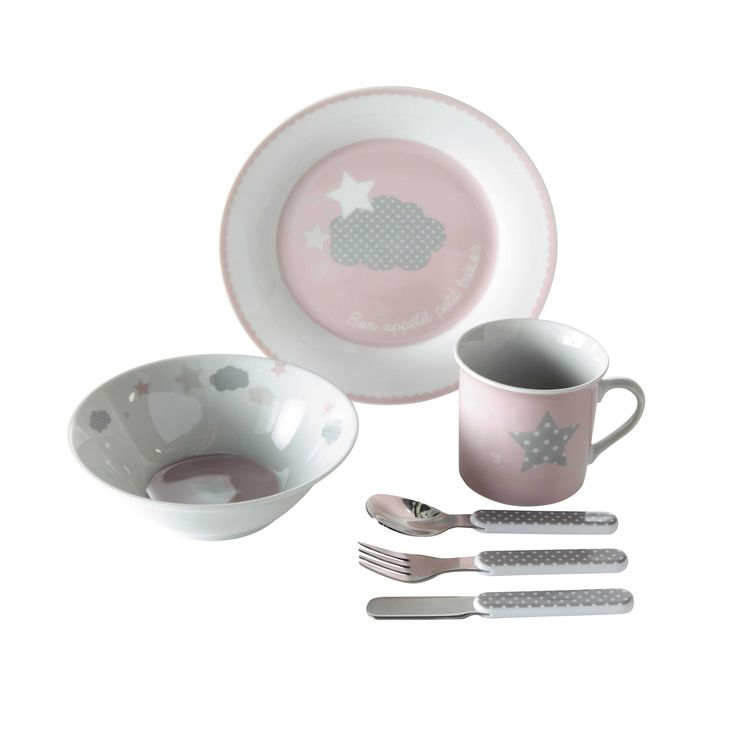 coffret repas b b en porcelaine rose tr sor baby. Black Bedroom Furniture Sets. Home Design Ideas
