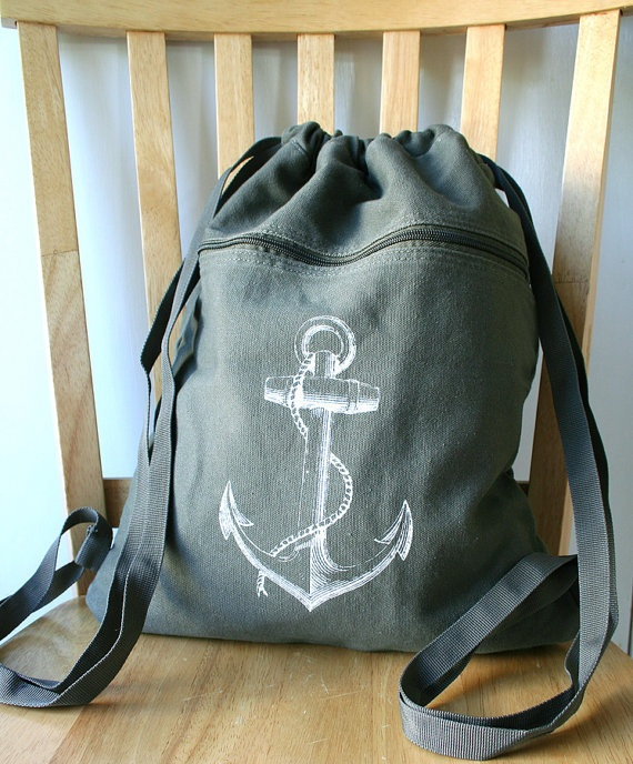 Anchor Backpack Olive Green Canvas Screen Printed