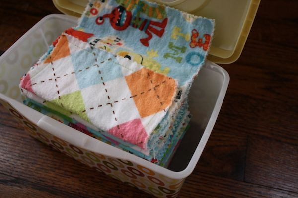 How to fold hankies so that they will pull up like kleenex.  Minky is nicer on the nose!