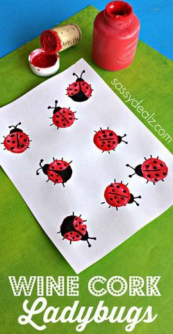 Wine Cork Ladybugs Craft for Kids #Spring art project *AND a reason for Mom to drink more WINE