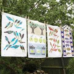 vintage print tea towels from New House Textiles retro