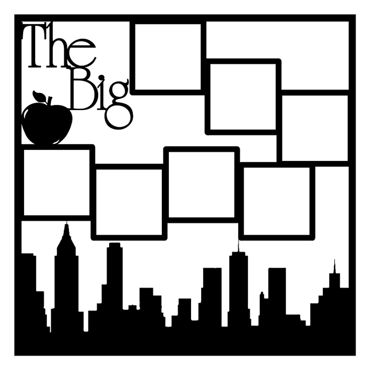 The Big Apple New York Scrapbooking Die Cut Overlay. 12x12 cut out of cardstock. Comes in multiple colors
