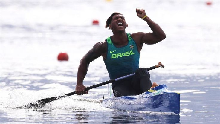 Isaquias Queiroz dos Santos of Brazil celebrates after competing during the Men's Canoe Single 1000m Final A on Day 11 of the Rio 2016 Olympic Games at the Lagoa Stadium on August 16, 2016 in Rio de Janeiro, Brazil. Photo: Tom Pennington/Getty Images