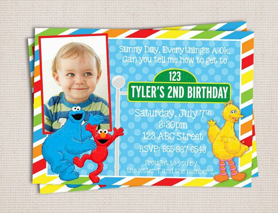 Primary Color Adorable Blue Red & Yellow Monsters Custom Birthday Party Printable Invitation