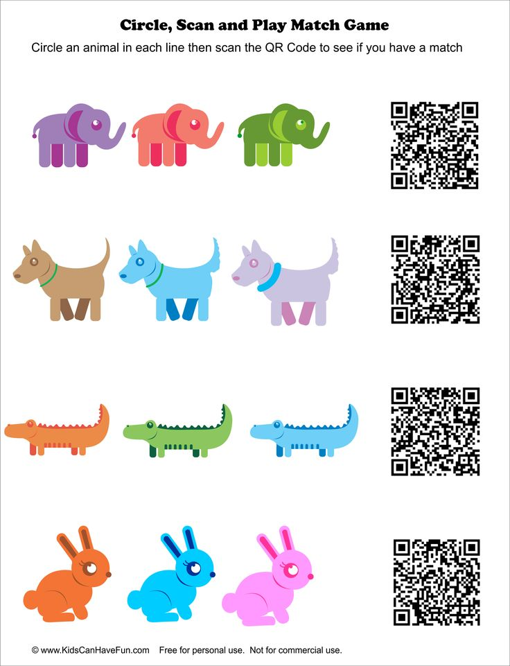 Circle an animal from each line and then scan the QR Codes to see if you have a match http://www.kidscanhavefun.com/qr-codes-for-kids.htm #qrcode #kidsgames #fungames