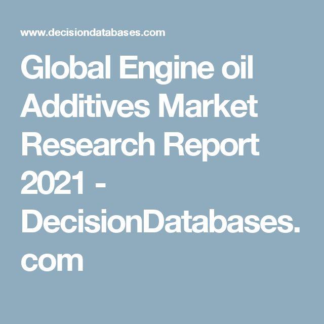 Global Engine oil Additives Market Research Report 2021 - DecisionDatabases.com