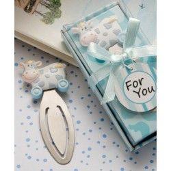 Vaquita Juguete Punto de Libro en Estuche Azul. El recuerdo para el perfecto baby shower It's a boy!
