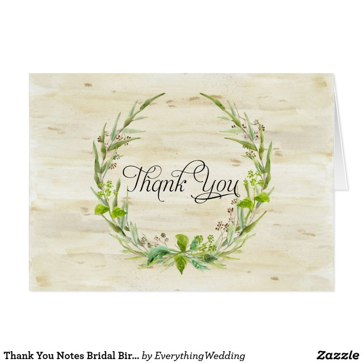 Thank You Notes Bridal Birch Bark Wood Leaf Seeds Beautiful, modern and stylish thank you notes to use for bridal stationery, wedding thank you notes and business correspondence. Featuring a hand painted watercolor birch bark wooden background with a woodland nature inspired wreath of gathered forest leaves, eucalyptus leaves, seeds and leaf foliage. Rustic yet elegant, simple and modern yet romantic. Art copyright Audrey Jeanne Roberts, all rights reserved.