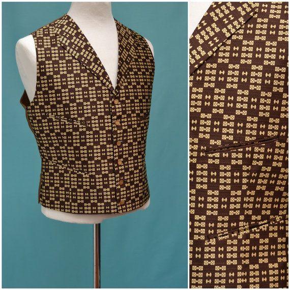 Vintage waistcoat / mens formal vest, sleeveless jacket, brown / yellow brocade Victorian / Edwardian style dress waistcoat / vest,steampunk