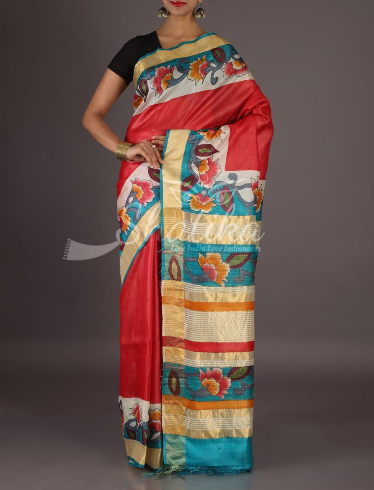 Babita Bel Of Bell Flowers On Border Pallu Handpainted Kosa Silk Saree