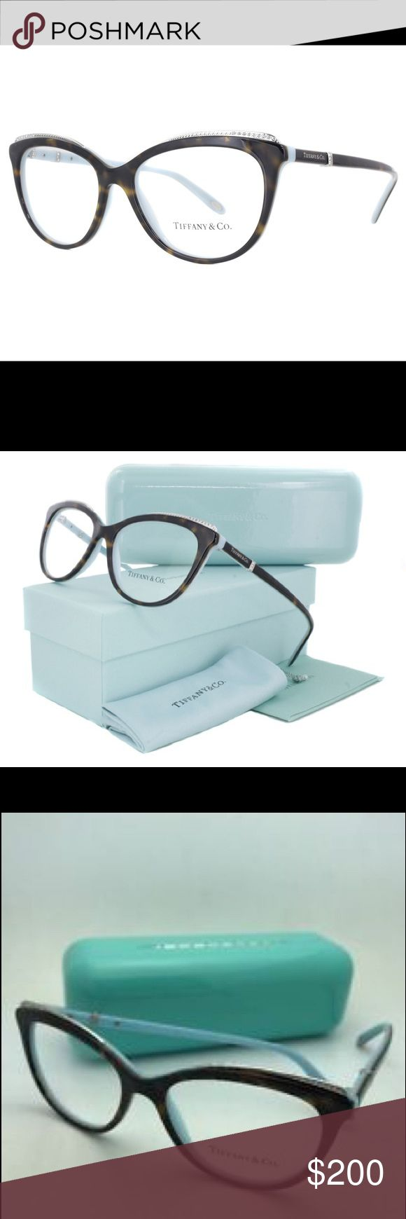 TIFFANY AND CO BEAUTIFUL EYEWEAR PRODUCT DESCRIPTION For over a century, Tiffany & Co.® has reigned as America's elite house of world-class jewelry. These women's designer eyeglasses in dark tortoise and lined in Tiffany blue lend feminine style to the cat eye shape. Crafted from acetate, these frames are flexible yet strong, as well as hypoallergenic. Flex hinges resist bending and give a comfy, adjustable fit. Exquisite crystal jewels define slender temples. Tiffany & Co. Accessories…