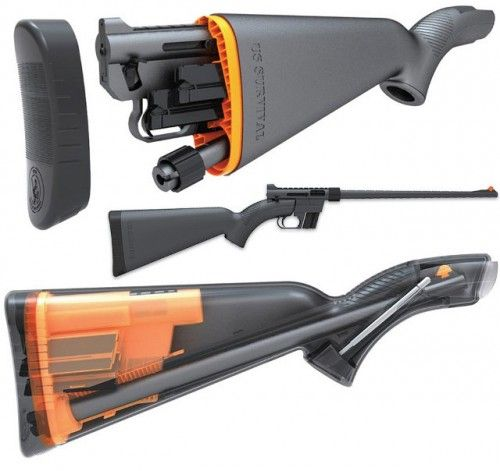 "Henry U.S. Survival AR-7 rifle 3.5 lbs, 16 ½"" long when stowed, several layers of Teflon coating to help with the waterproofing, even in saltwater environments and .22 LR ammunition. Available in camo or black"