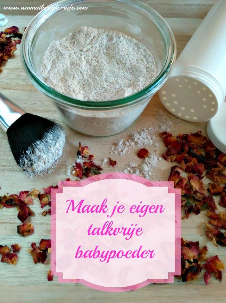 Dit talkvrije babypoeder maak je zelf met maiszetmeel, gedroogde bloemen en lavendel etherische olie