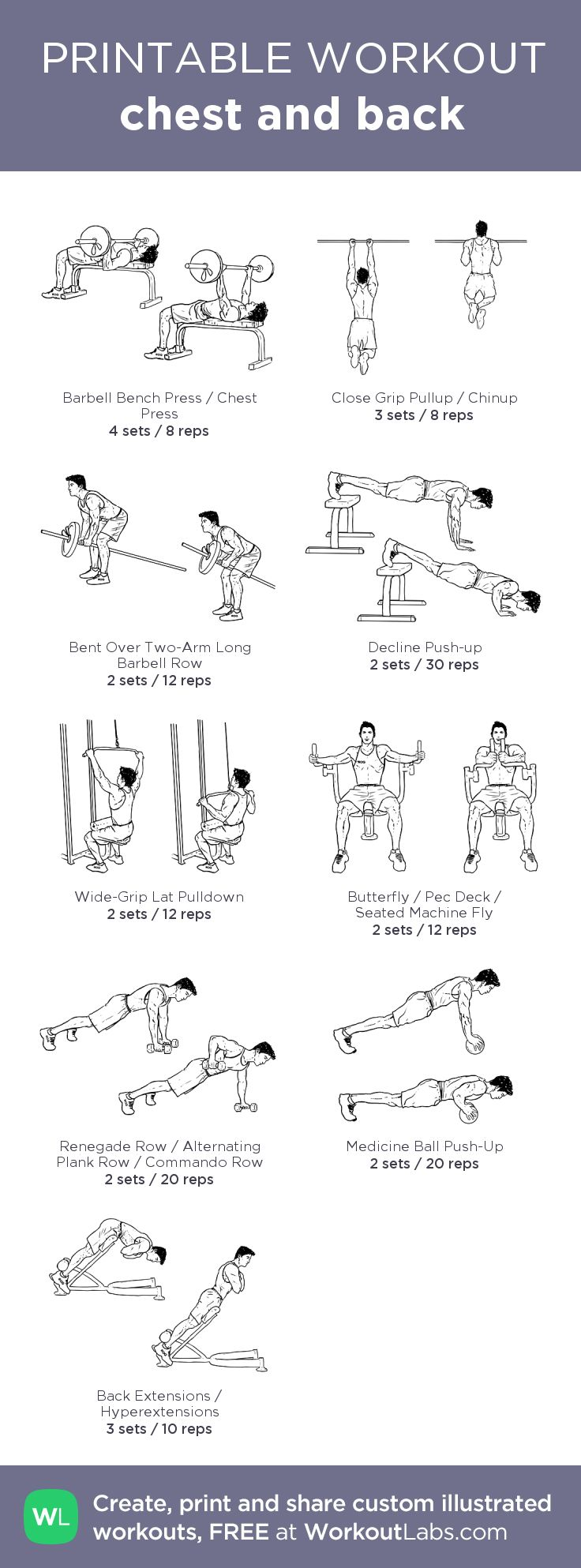 chest and back:my visual workout created at WorkoutLabs.com • Click through to customize and download as a FREE PDF! #customworkout