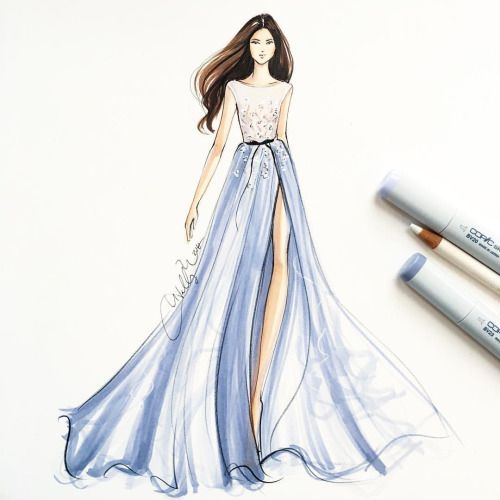 Paolo Sebastian gown, sketch by Holly Nichols.