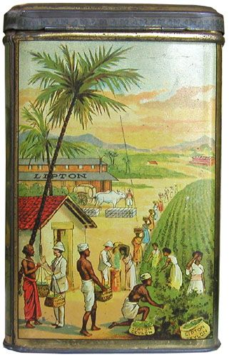 Lipton tea tin ... decorated with scene of Ceylon tea plantation workers picking tea with factory in background, rectangular, early-mid 20th century, litho tin
