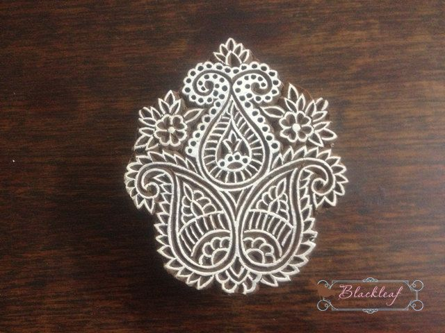 Wood Block Printing Hand Carved Indian Wood Block Printing Stamp Tree of Life Paisley Motif.