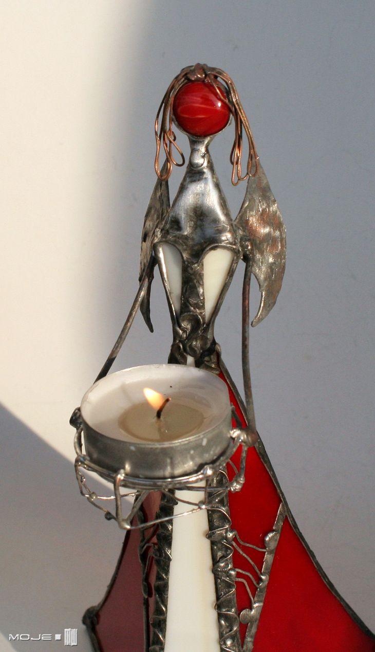 Molabeda. Szklany Anioł / Glass Angel. Witraż Tiffany. Dekor stojący. Moje MW