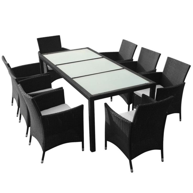 Black Rattan Garden Furniture 8 Seater