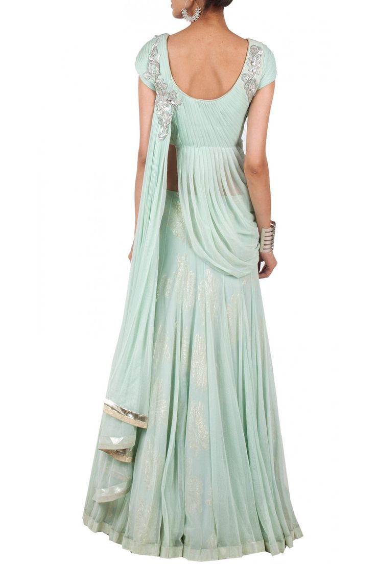 Aquamarine draped blouse lehenga available only at Pernia's Pop-Up Shop.