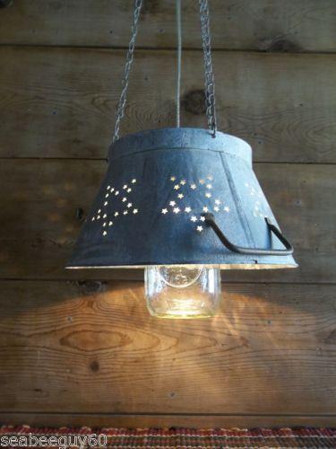 Mason-Jar-Light-Fixture-STAR-punched-Metal-Colander-Pendant-w-Weathered-finish