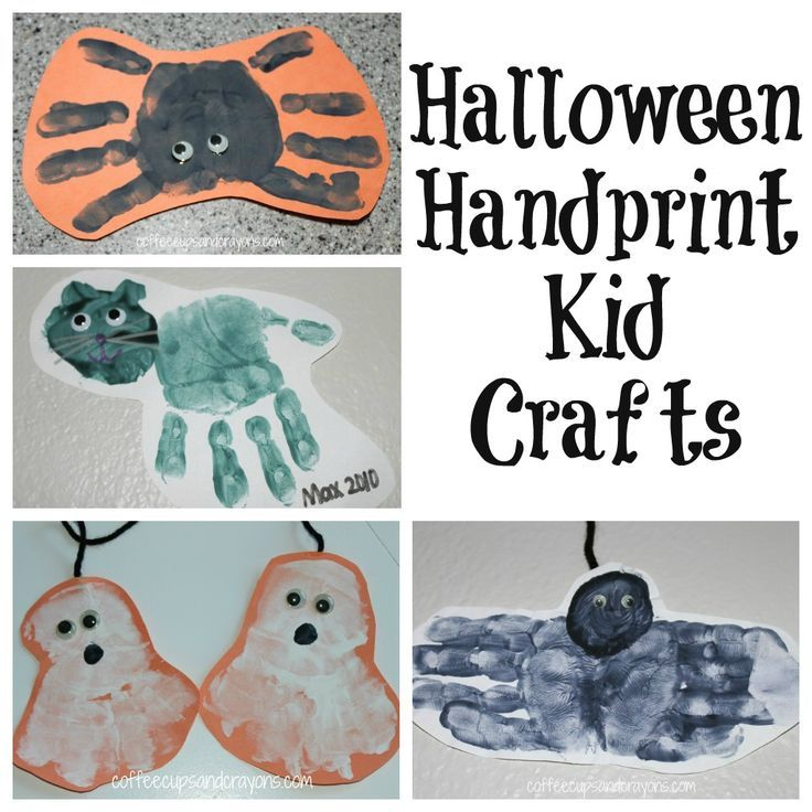 Halloween Handprint Kid Crafts from Coffee Cups and Crayons