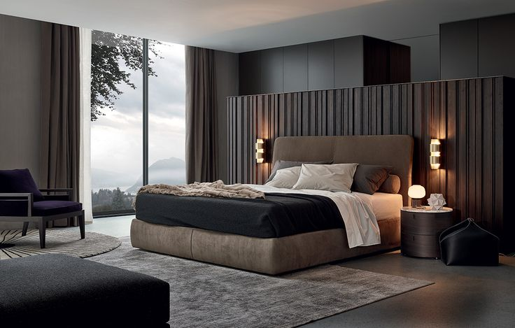 Laze bed, base and headboard with covering in 02 tortora Nabuk removable leather.