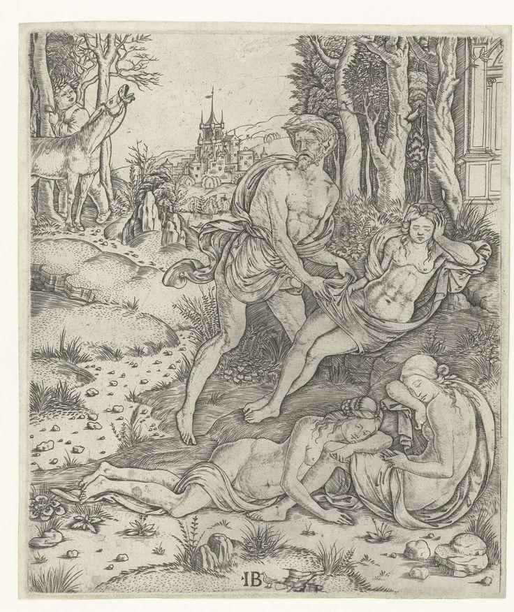Meester IB met de vogel | Priapus vergrijpt zich aan nimf Lotis, Meester IB met de vogel, 1500 - 1515 | De vruchtbaarheidsgod Priapus in gedaante van een herme vergrijpt zich aan de slapende nimf Lotis. Dit wordt verhinderd door Silenus met de balkende ezel. Op de voorgrond twee slapende nimfen.