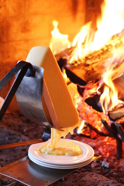 Raclette Cheese is traditionally served by melting near the fire and served with Small Potatoes, Gherkins, Pickled Onions and Dried Meats. This semi-firm, cow's milk cheese comes from both the Swiss and French Alps.