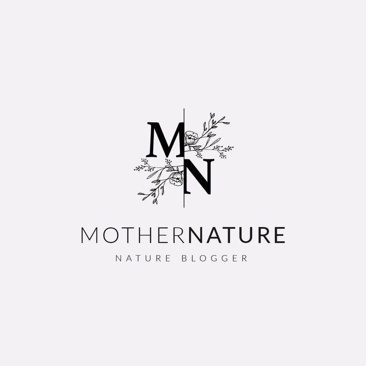 Hermoso diseño de logotipo femenino con monograma floral. Ilustraciones vintage que …   – Logo