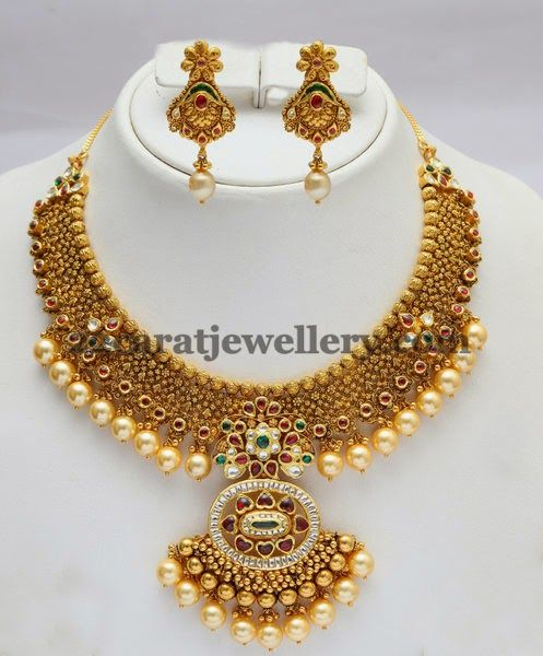 Flawless Pearls Hanging Kundan Set   Jewellery Designs