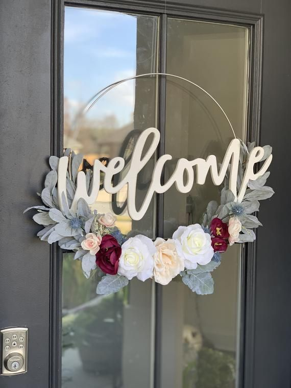 Modern Floral Hoop Wreath Etsy Door Wreaths Diy Wreath Decor Summer Door Wreaths