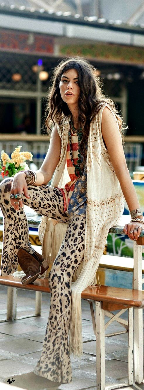 Sexy boho chic leopard print palazzo bell bottom pants and modern hippie long vest. FOLLOW https://www.pinterest.com/happygolicky/the-best-boho-chic-fashion-bohemian-jewelry-gypsy-/ for the BEST Bohemian fashion trends.