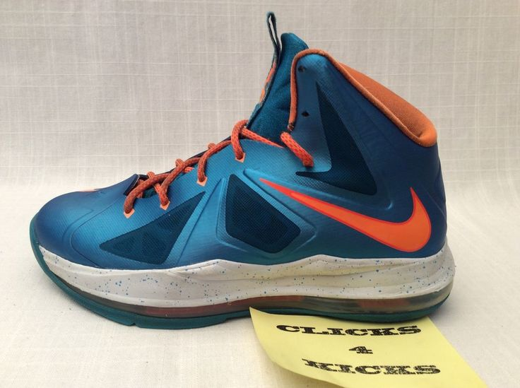 Nike Air ZOOM LEBRON 10 X BALTIC BLUE ORANGE Youth Basketball Shoes Size  6.5 Y #