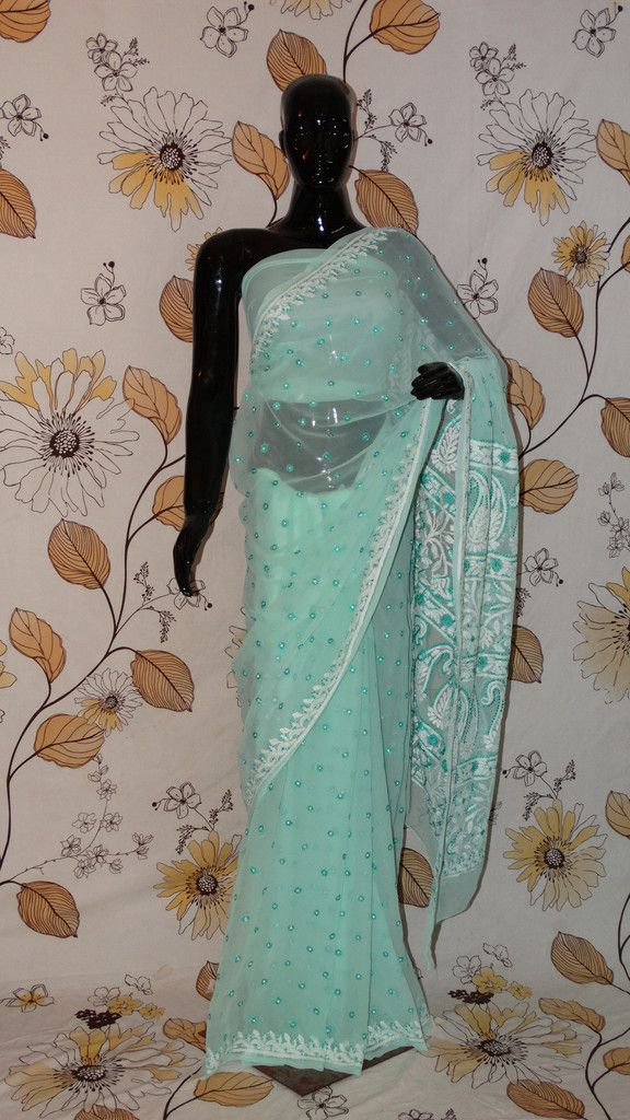 Chikankari Sea Green Georgette Saree - Silk thread Chikan all over and heavy pallu