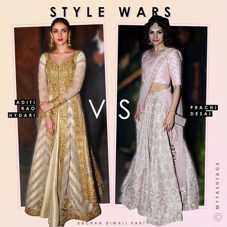 """@aditiraohydari or @prachidesai whose #Festive look at the #BachchanDiwaliParty do you like? Shout out below  #MyFashTags"""