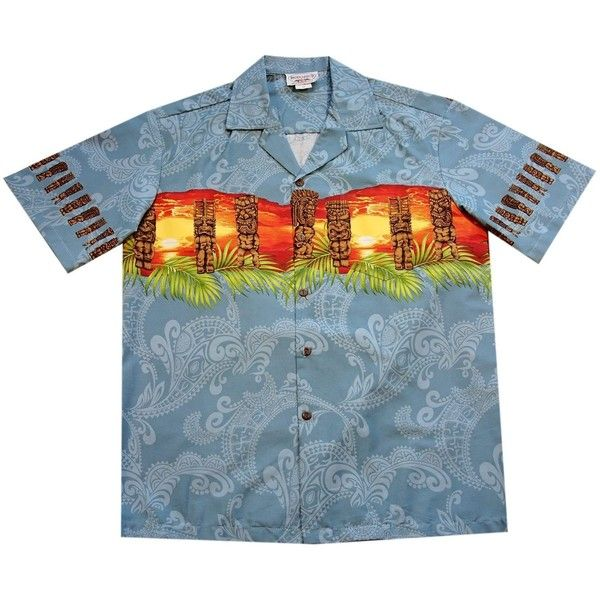 Tiki Warriors Blue Border Hawaiian Shirt (125 BRL) ❤ liked on Polyvore featuring tops, jesussandal, short sleeve tops, blue short sleeve shirt, shirt top, tribal shirts and blue shirt