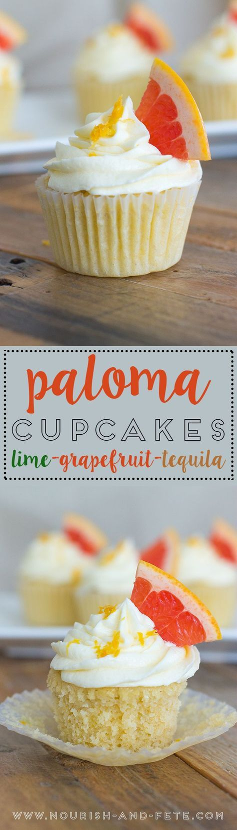 Boozy cupcakes bursting with lime, grapefruit, and tequila, inspired by the crisp flavors of a Mexican Paloma cocktail. Perfect for Cinco de Mayo or any summer fiesta! via @nourishandfete