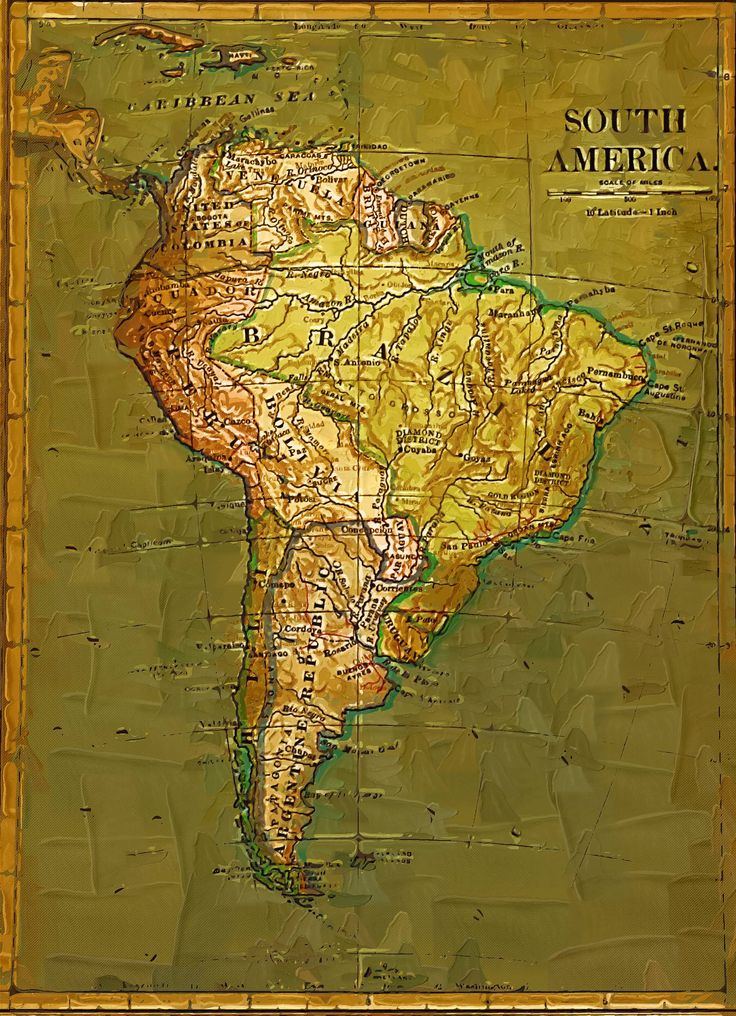 Map Of South America%0A Antique foil map of South America