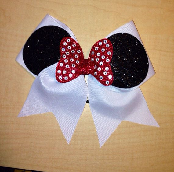 3inch Minnie cheer bow red bow w/ rhinestones by BowsByEm on Etsy, $15.00... does it get any cuter than this!?