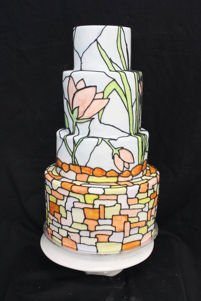 Beautifully hand painted stained glass inspired cake