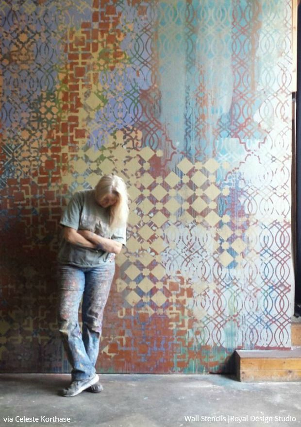 Nice Mixing And Layering Stencil Patterns With Celeste Korthase   Wall Mural  Stencils By Royal Design Studio Part 29
