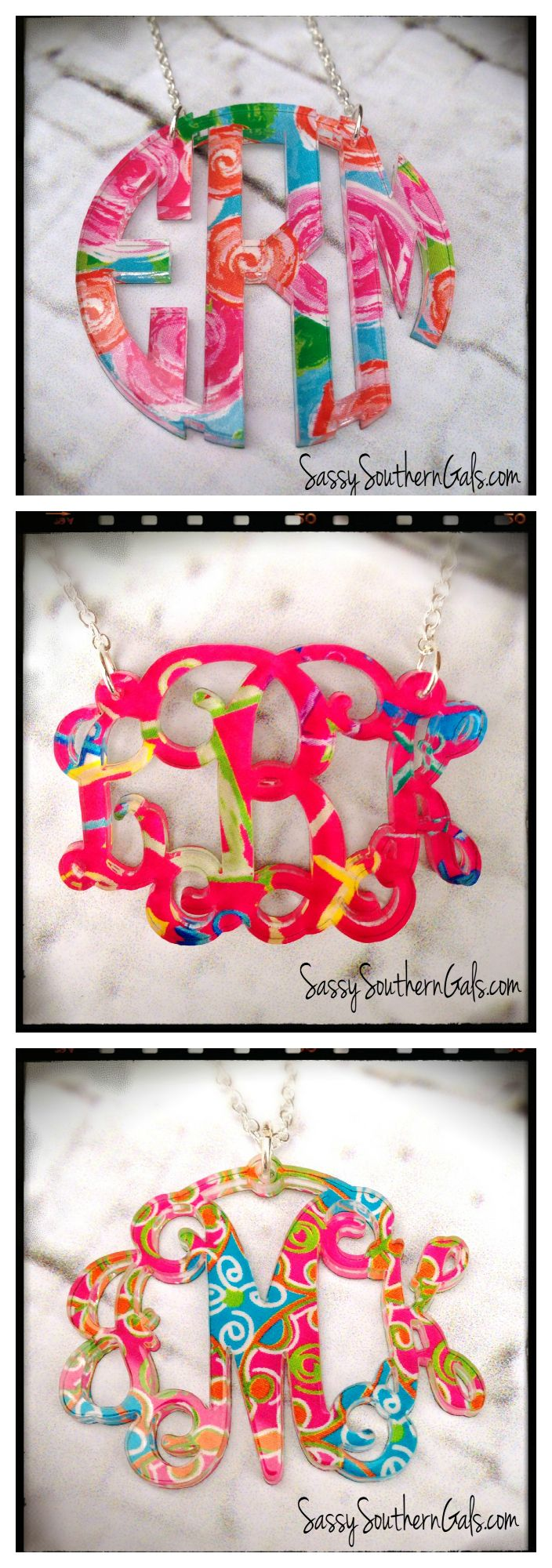 Lilly Pulitzer inspired monogrammed necklace, acrylic monogram necklace on www.SassySouthernGals.com