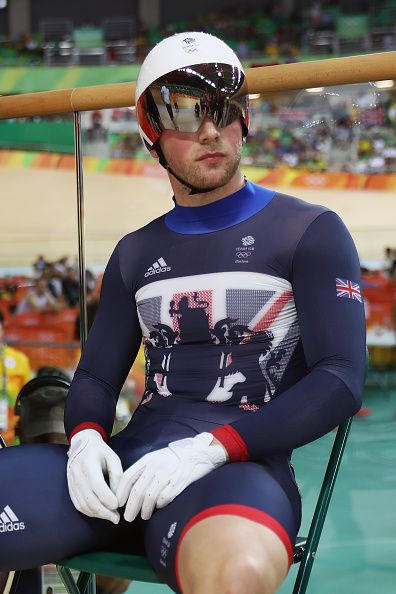 Jason Kenny of Great Britain waits for a ruling in the Men's Keirin Finals race…